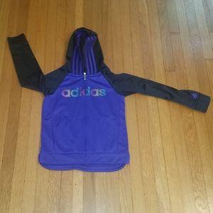 Adidas zip up sweatshirt. Hooded. Purple.